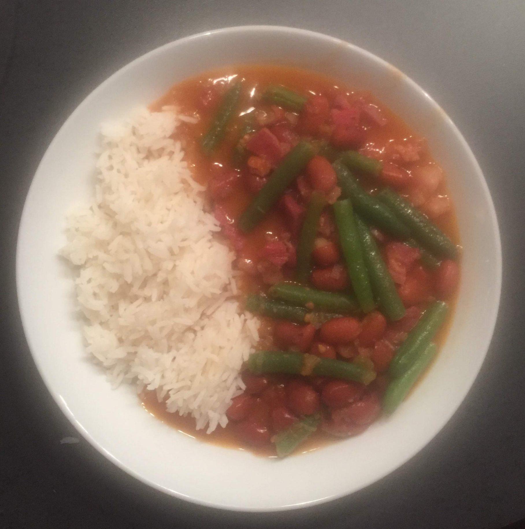 Masterbeef (zoutvlees) met bruine bonen en sperziebonen